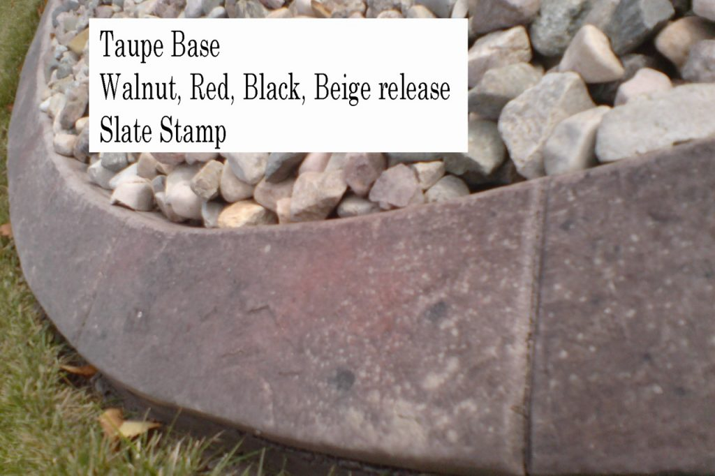 Base-  taupe  Release-  walnut, red, black, beige Stamp- slate curb