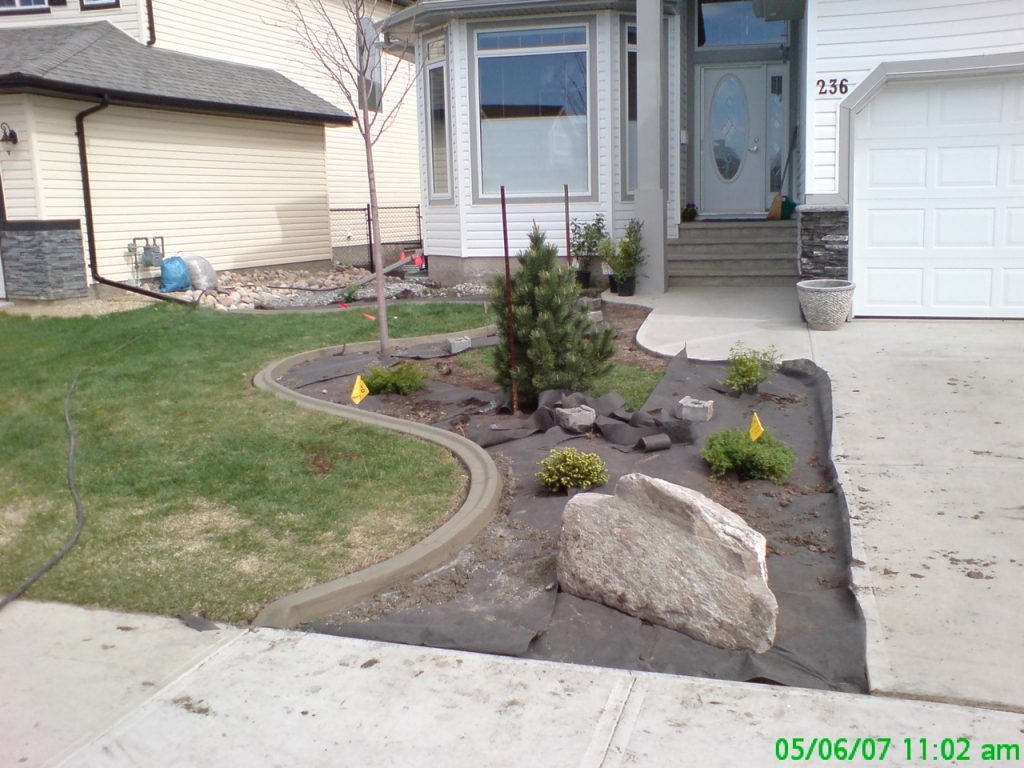 we cut in an edge and installed the curb