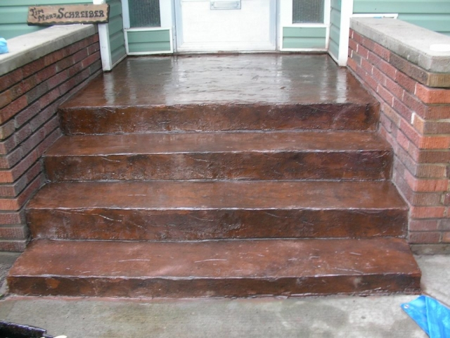 This was meant to be a short term fix for brick steps that were crumbling underneath. A 3/8 coat of topping was applied and stamped.  This kind of repair is only as stable as the base. it might get cracks.